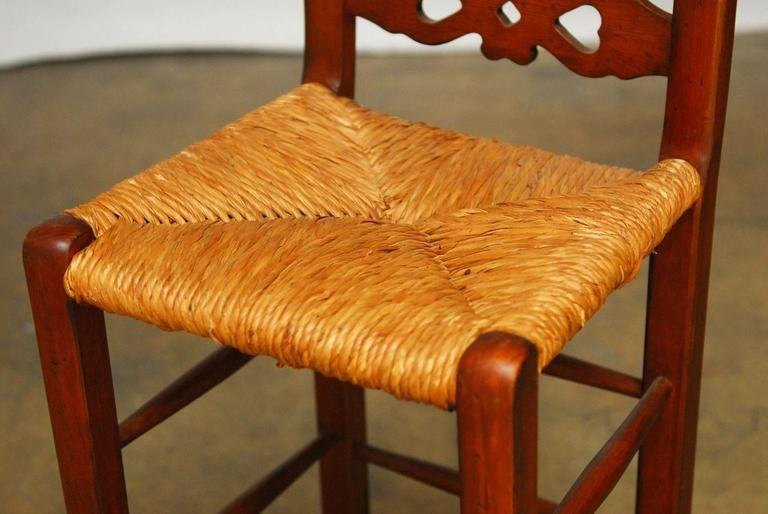 English Set of Six Welsh Carved Rush Bar Stools For Sale