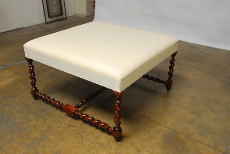 louis xiii barley twist upholstered ottoman bench 3 - Upholstered Ottoman