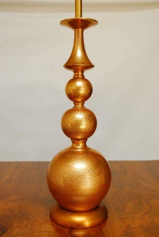 Hollywood Regency Large Marbro Graduated Gilt Orb Table Lamp For Sale