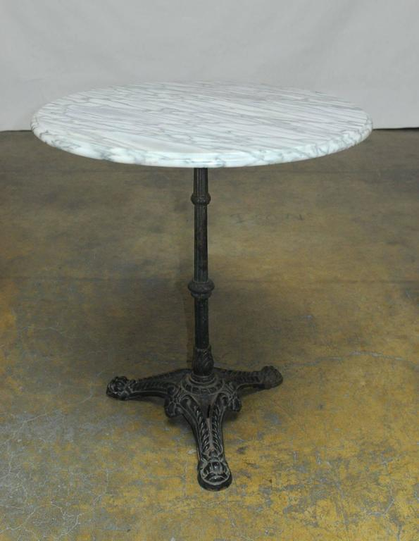 French Parisian Marble-Top Bistro Table In Excellent Condition In Rio Vista, CA