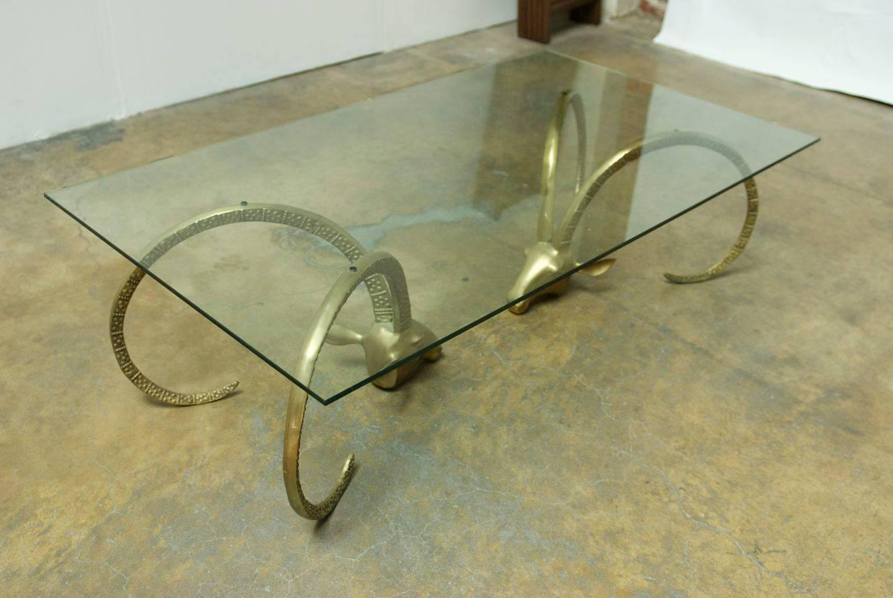 Large Brass Ibex Ram's Head Coffee Cocktail Table For Sale at 1stdibs