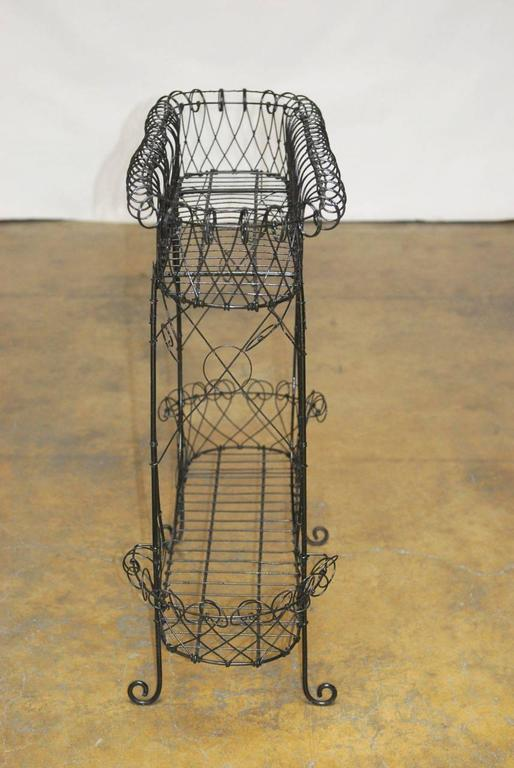 Black French Wire Plant Stand At 1stdibs