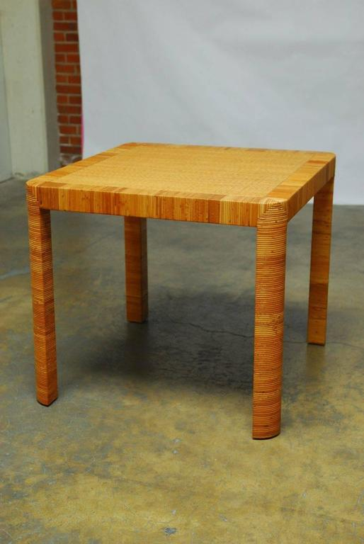 Chic Bamboo And Rattan Breakfast Or Dining Table Featuring A Basket Weave Frame Rounded Legs