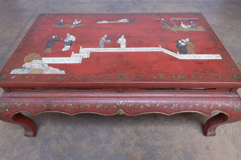 Chinese Red Lacquer Hard Stone Kang Coffee Table 2