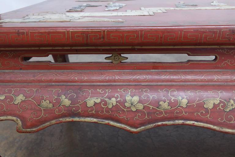 Chinese Red Lacquer Hard Stone Kang Coffee Table 8