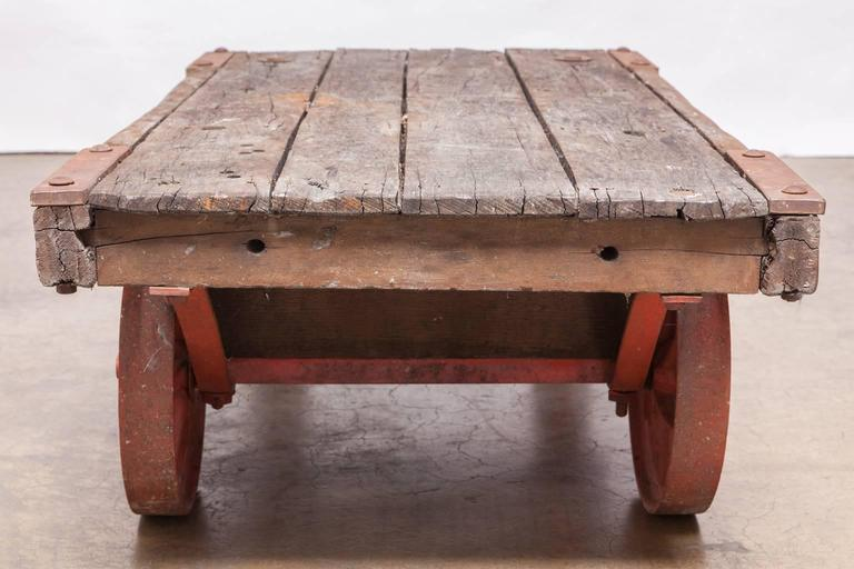 industrial factory rolling cart with iron wheels for sale at 1stdibs