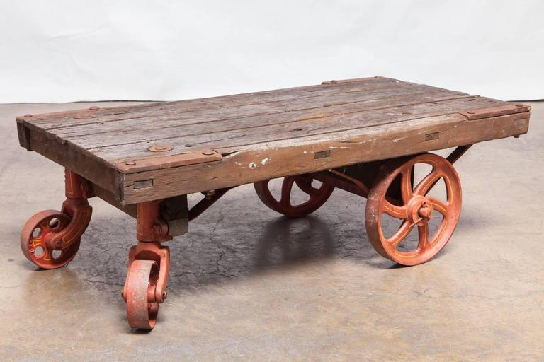 Industrial Factory Rolling Cart With Iron Wheels For Sale