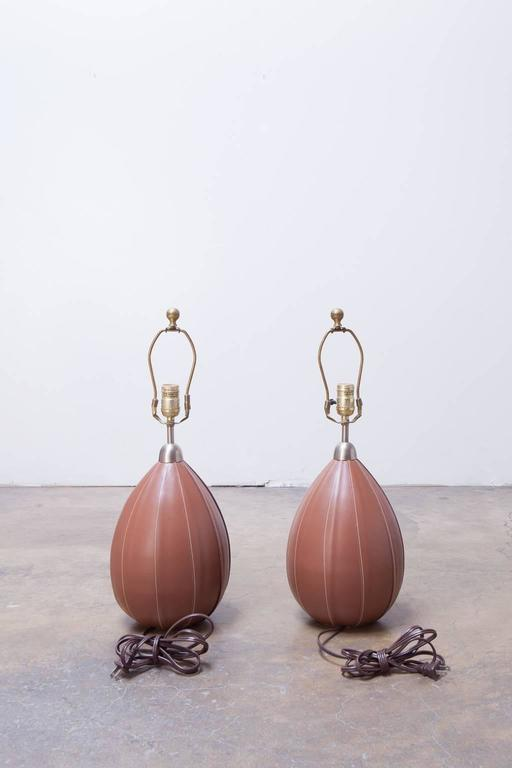 American Pair of Ralph Lauren Stitched Leather Table Lamps For Sale