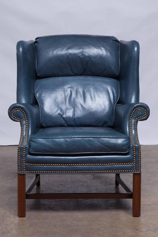 French Blue Chippendale Mahogany Wing Chair By Schafer