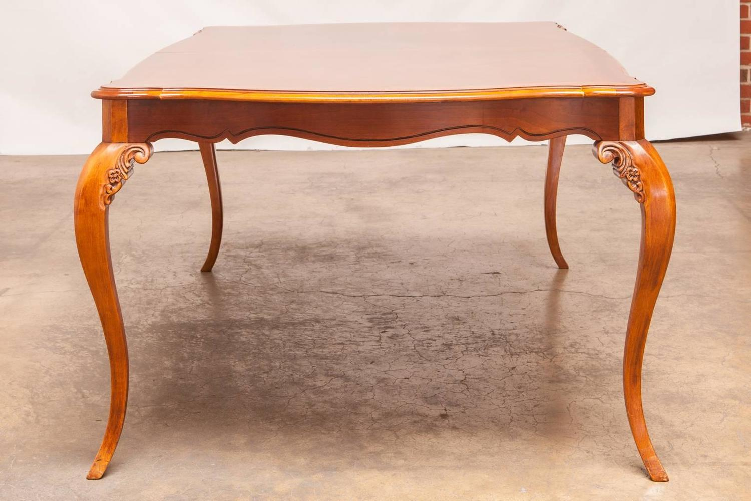 French Provincial Style Mahogany Dining Extension Table By