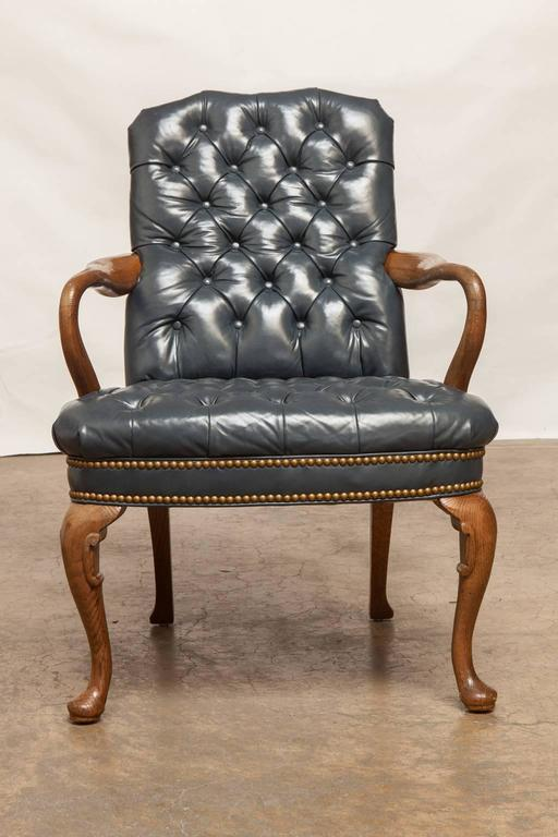 Ordinaire Impressive Leather Library Chair Featuring French Blue Tufted Upholstery  Accented By Brass Nailhead Trim. Supported