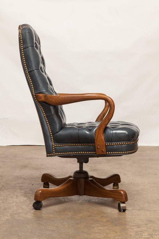 Stupendous Fine Tufted Leather Desk Chair By Schafer Brothers For Sale Machost Co Dining Chair Design Ideas Machostcouk