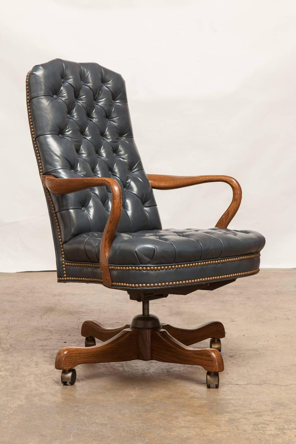 Fine Tufted Leather Desk Chair By Schafer Brothers For