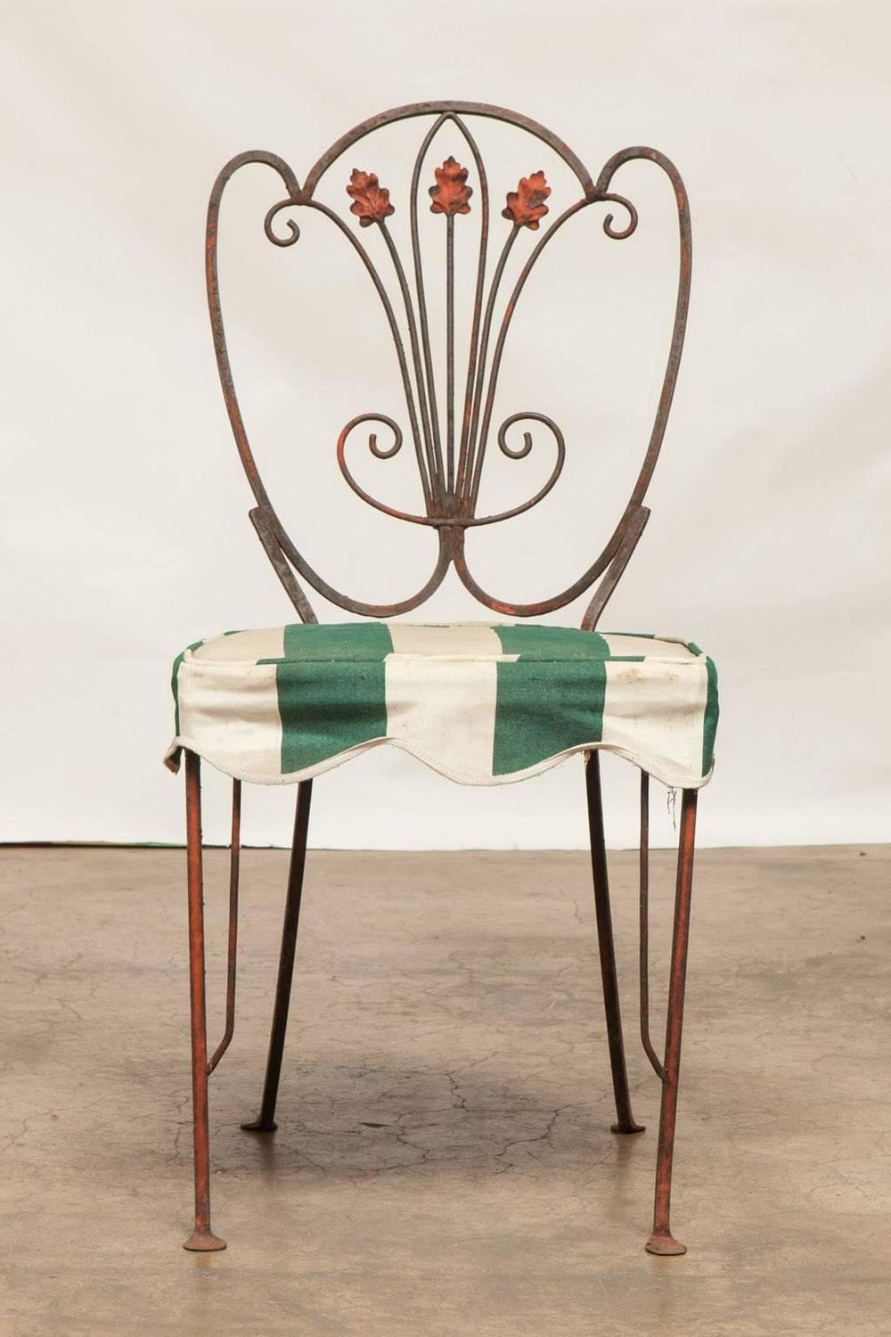 Set Of Four French Iron Bistro Dining Chairs For Sale At 1stdibs