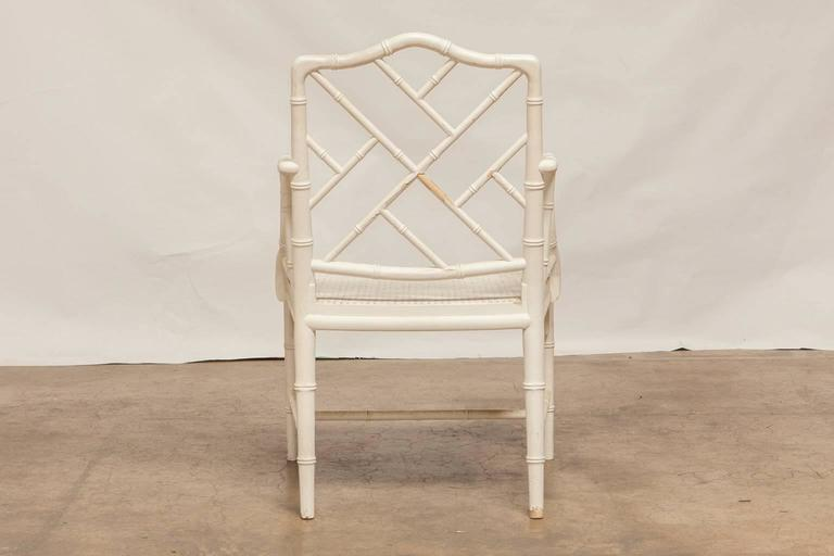 American Pair of Chinese Chippendale Faux Bamboo Armchairs For Sale