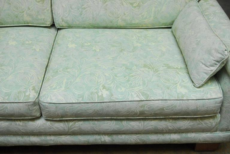 American Mid-Century Modern Sofa Upholstered in Fortuny Style Fabric For Sale