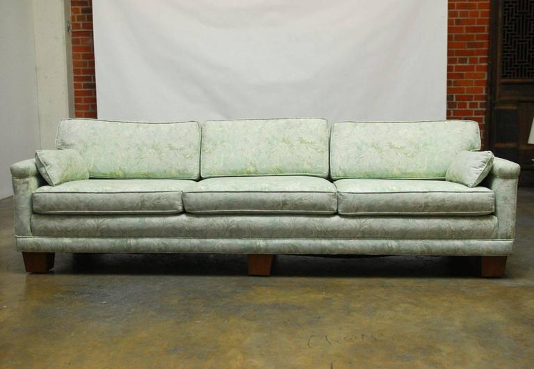 Mid-Century Modern Sofa Upholstered in Fortuny Style Fabric For Sale 1