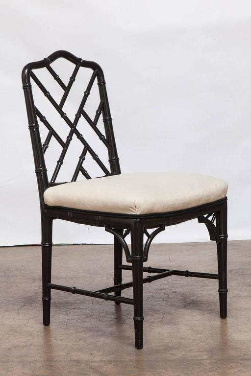 Black Lacquer Chinese Chippendale Dining Chairs For Chippendale Dining