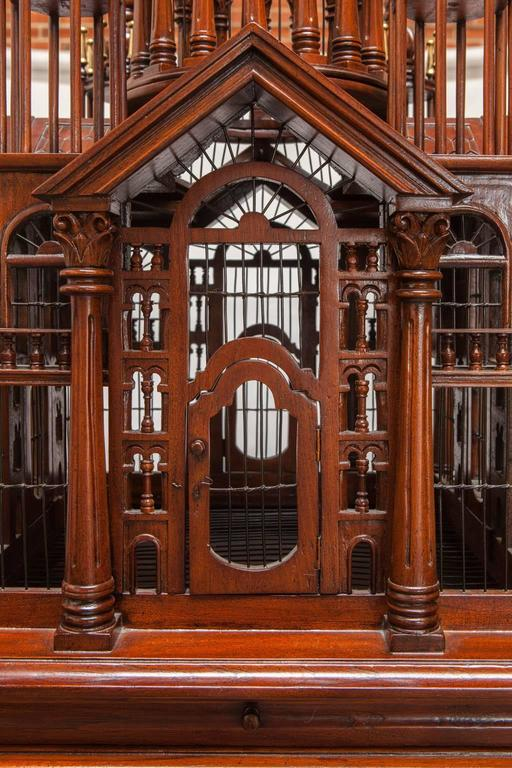 Maitland Smith Mahogany Architectural Birdcage On Stand At