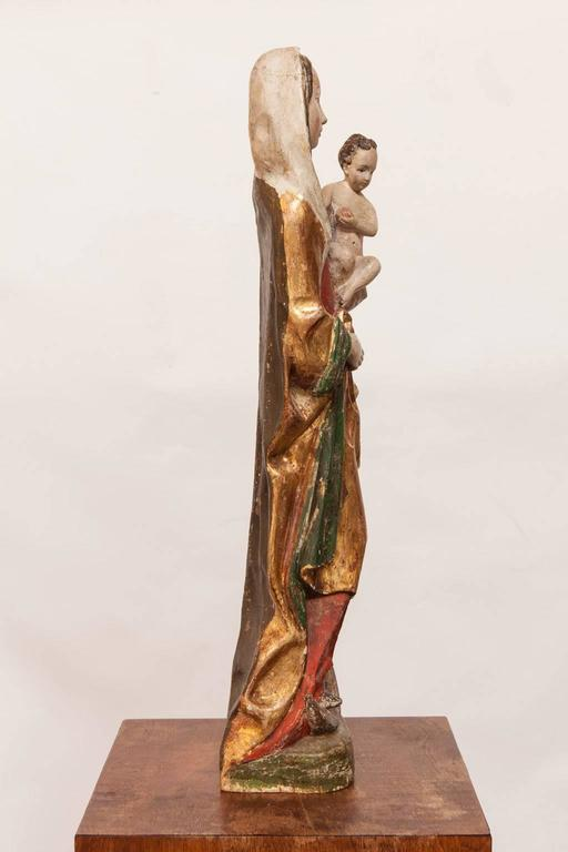 Gilt 16th Century French Polychrome Madonna and Child  For Sale
