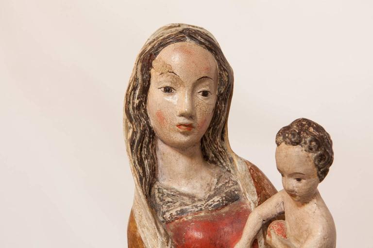 Renaissance 16th Century French Polychrome Madonna and Child  For Sale