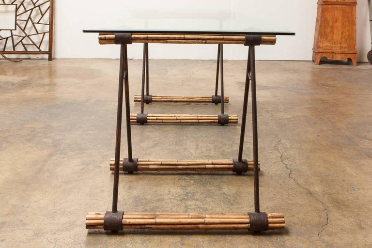 Stylish Gl Top Desk Featuring Bamboo And Iron Supports Made In The Shape Of Saw Horses