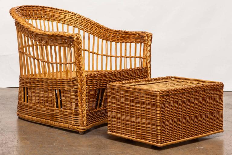 Stylish Pair Of Rattan And Stick Wicker Club Chairs Or Lounge Chairs And  Ottoman By Mcguire