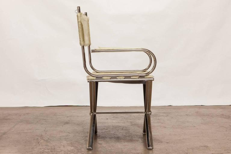 Mid Century Modern Chrome And Cowhide Johnsonian Director S Chair By Eric Brand For