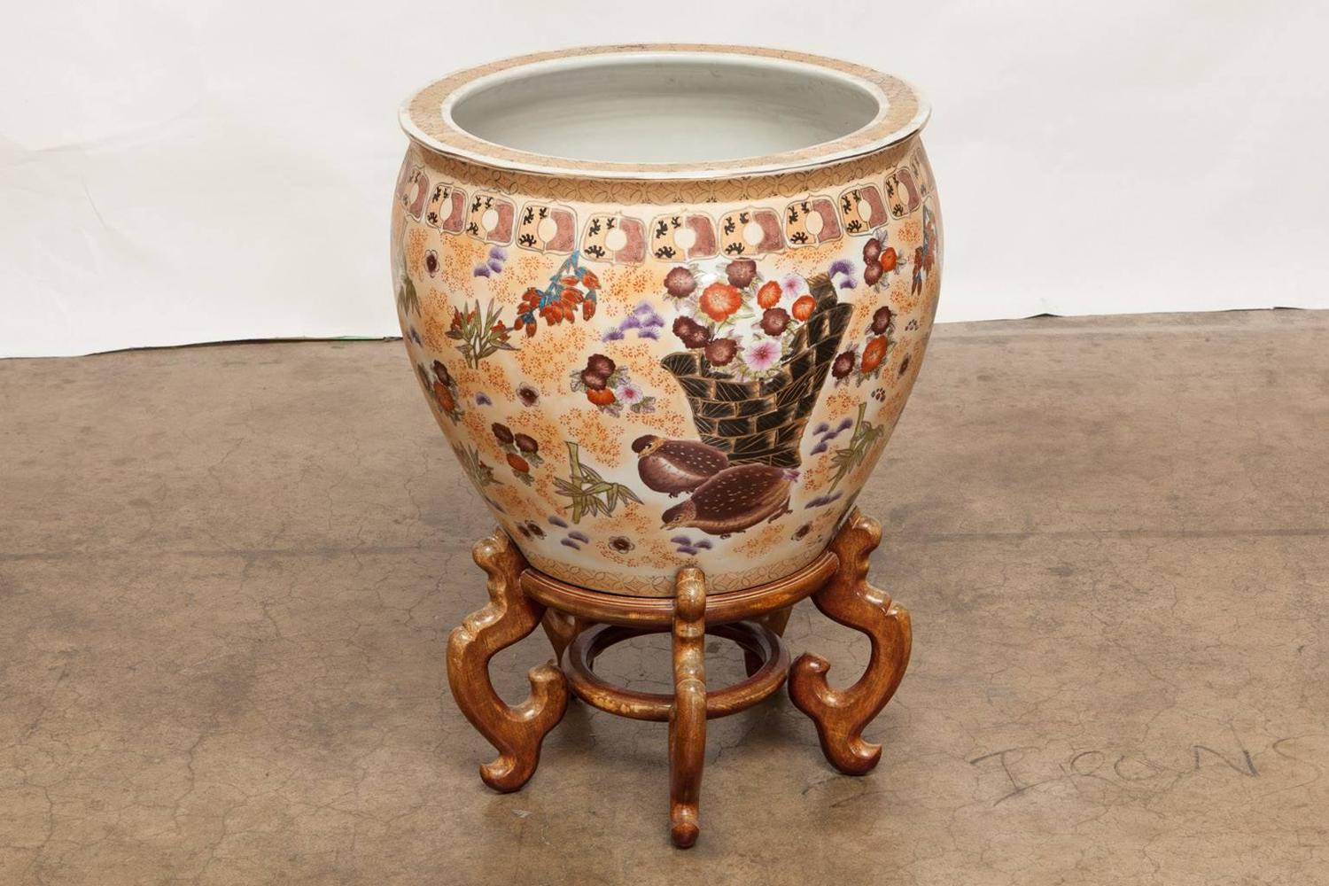 Chinese Porcelain Fish Bowl Jardiniere On Stand For Sale