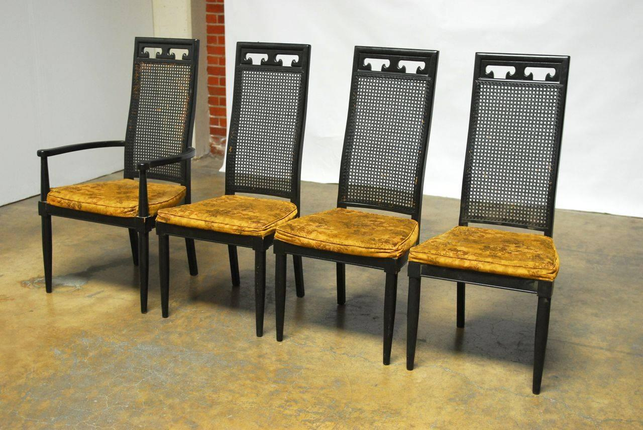 Set of eight asian style cane black lacquer dining chairs for Oriental dining room furniture for sale