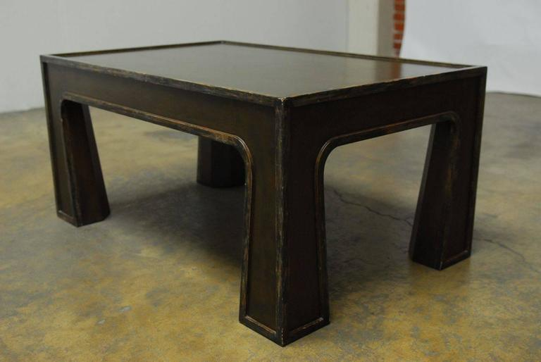 Chinese Modern Lacquered Coffee Table In Distressed Condition For Sale In Oakland, CA
