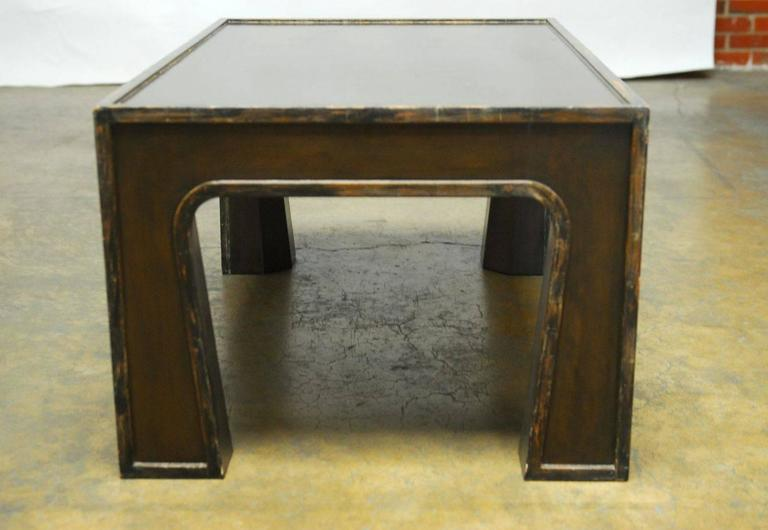 Wood Chinese Modern Lacquered Coffee Table For Sale