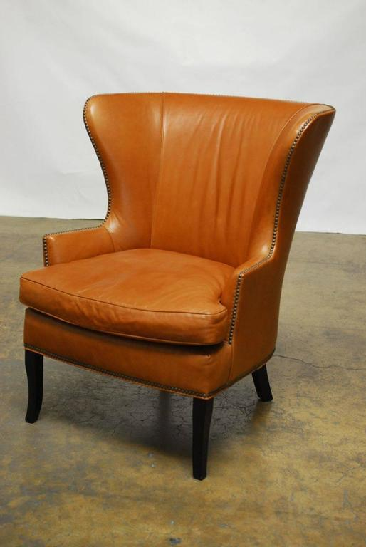Mid Century Style Leather Butterfly Wing Chair At 1stdibs
