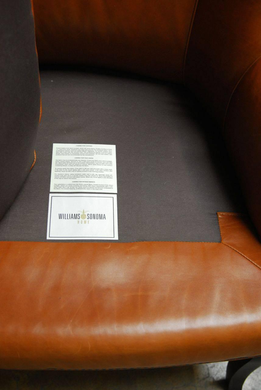 Mid Century Style Leather Butterfly Wing Chair For Sale At