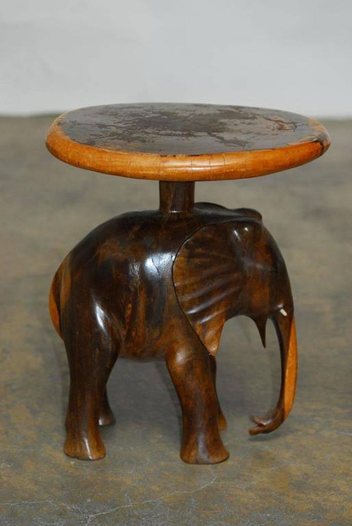 Remarkable Pair Of Hand Carved Elephant Side Tables Or Stools Made From A  Single Piece