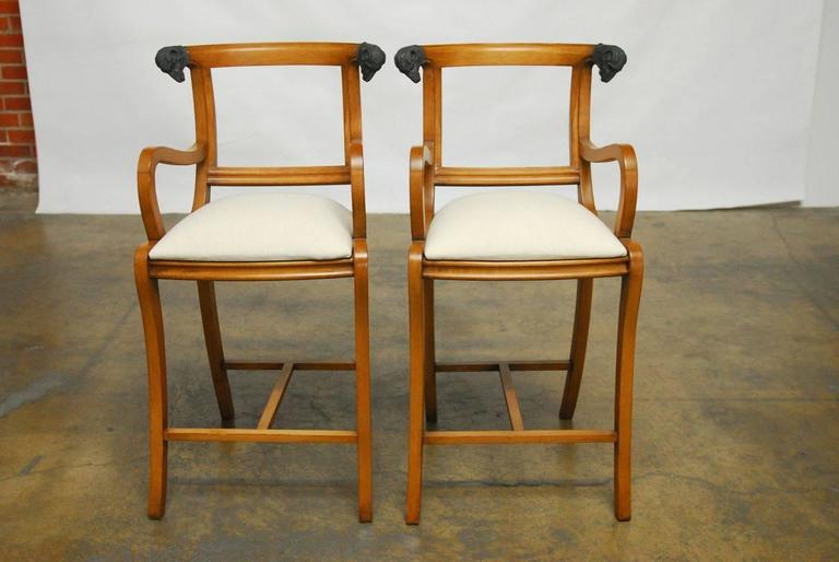 Pair of Italian Klismos Style Bar Stools with Rams Heads 2