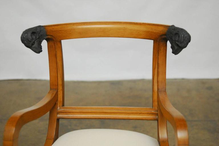 Pair of Italian Klismos Style Bar Stools with Rams Heads 8
