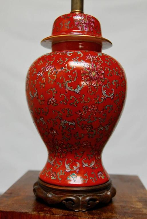 Colorful Chinese Red Ginger Jar Converted To A Table Lamp Featuring Fl And Foliate