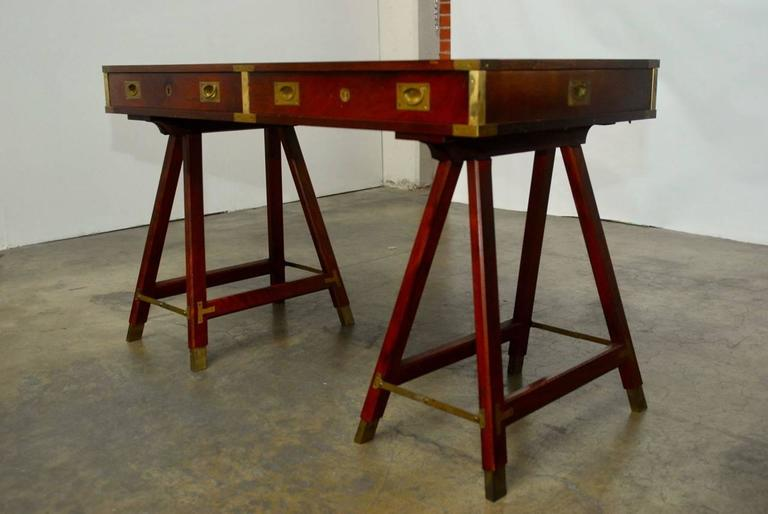 British Campaign Desk With Tooled Leather Top At 1stdibs