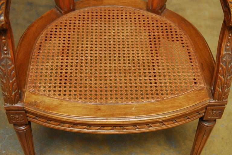 Neoclassical Louis XVI Shield Back Caned Fauteuil In Excellent Condition For Sale In Oakland, CA