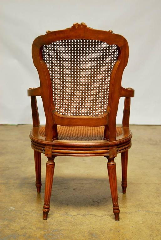 Neoclassical Louis XVI Shield Back Caned Fauteuil For Sale 2