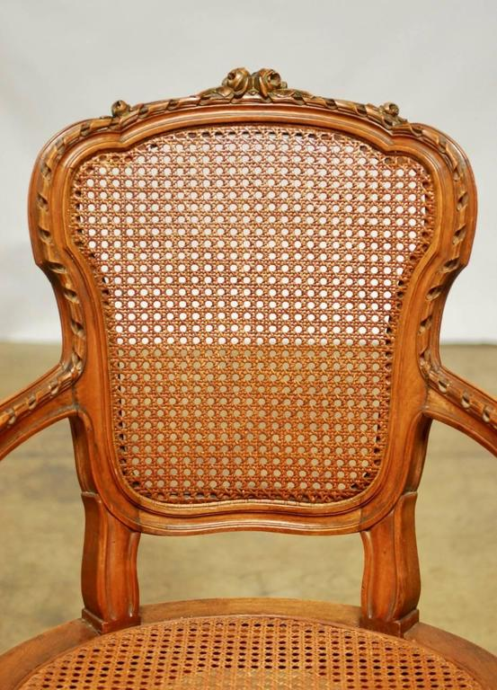 Neoclassical Louis XVI Shield Back Caned Fauteuil For Sale 1