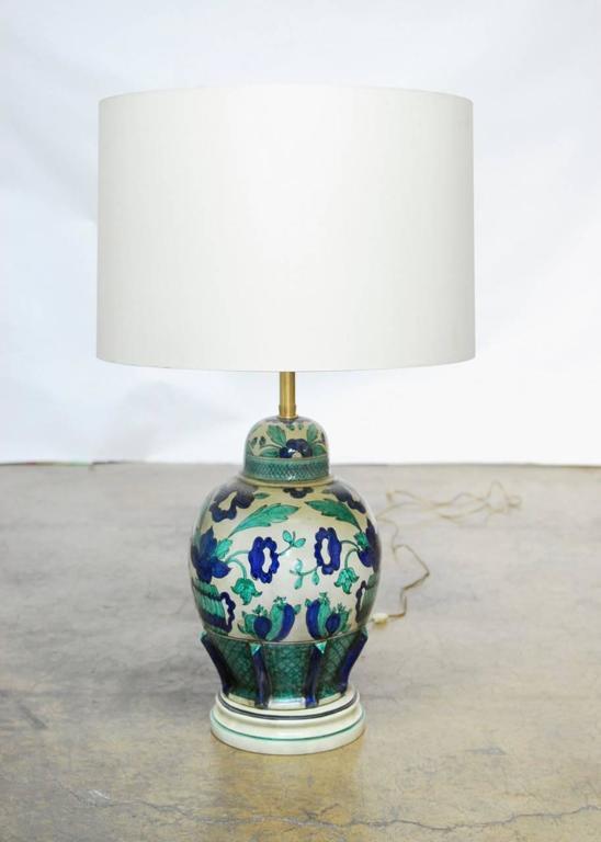 Mid-Century Modern Italian Ceramic Faience Table Lamp by Marbro For Sale