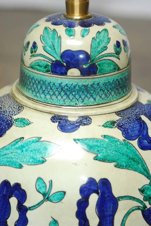 Brass Italian Ceramic Faience Table Lamp by Marbro For Sale