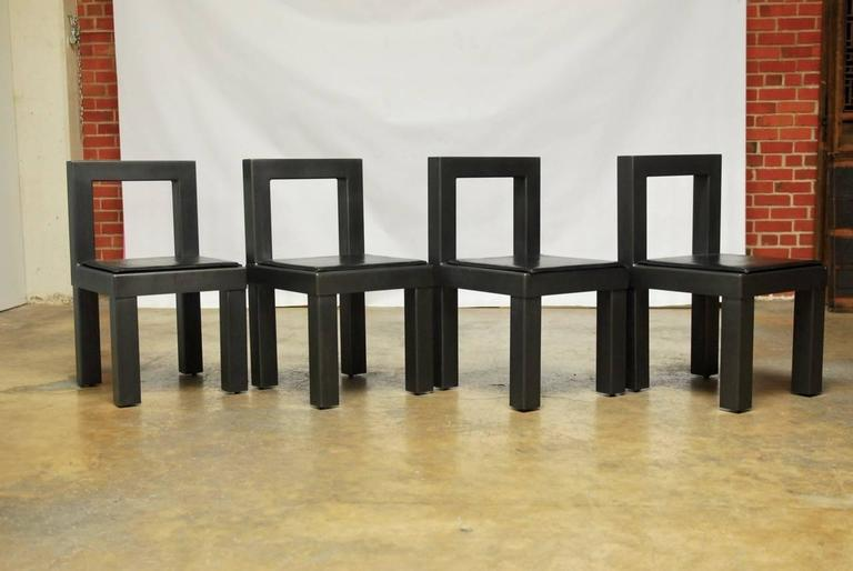 Hand-Crafted Set of Four Gunmetal Grey Steel Modern Industrial Dining Chairs For Sale