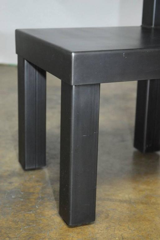 Set of Four Gunmetal Grey Steel Modern Industrial Dining Chairs In Excellent Condition For Sale In Oakland, CA