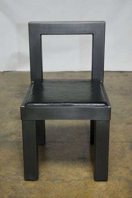 Set of Four Gunmetal Grey Steel Modern Industrial Dining Chairs 3