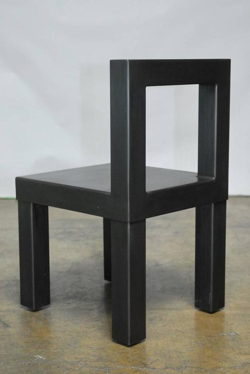 Set of Four Gunmetal Grey Steel Modern Industrial Dining Chairs For Sale 3