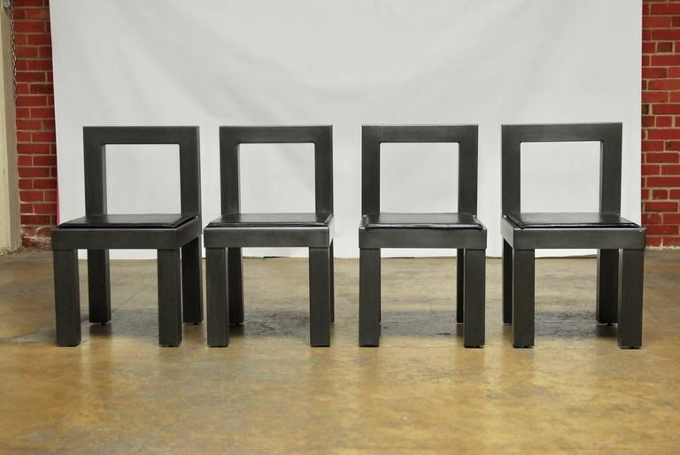 20th Century Set of Four Gunmetal Grey Steel Modern Industrial Dining Chairs For Sale