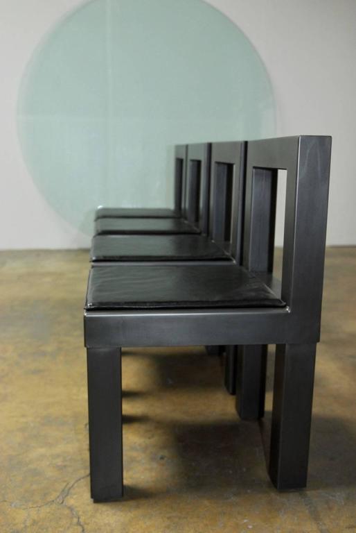 Set of Four Gunmetal Grey Steel Modern Industrial Dining Chairs 7